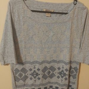 Lucky Brand Live In Love Scoop Neck Knit Top M